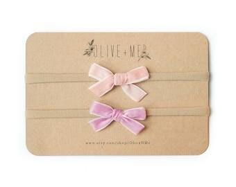Pink + Lilac Velvet Bow Headbands | Set of 2