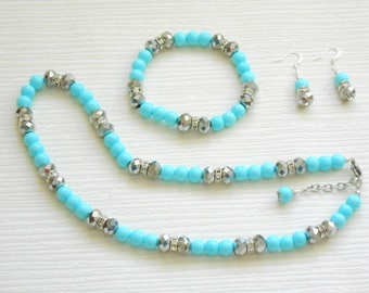Bridal pearl set jewelry party, wedding necklace bracelet earrings, Turquoise set, choose your color, 5% sale coupon code SALE5