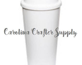 16 Oz Double Wall White Starbucks Inspired Tumbler With White Screw On Lid Starbucks Coffee Cup, BPA-Free Starbucks Style Coffee Tumbler
