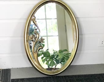Large Oval Gold Mirror • Hollywood Glam • Floral Wall Hanging