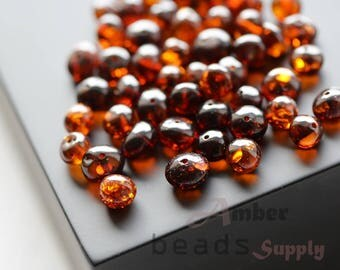 Baltic amber baroque beads for jewelry making. Polished cherry amber. Loose beads. 5840