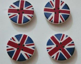 Wooden Union Jack Buttons x 4