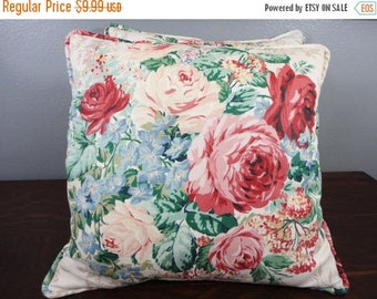 30% OFF CLEARANCE SALE Vintage Rose Floral Throw Pillows - Set of 2