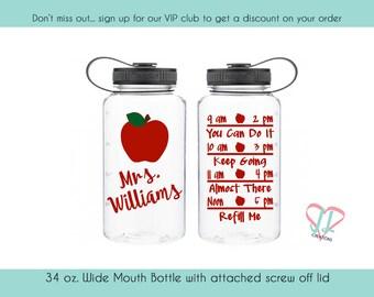 Gift For Teacher - 34 oz - Teacher Water Bottle - Water Tracker - Water Bottle