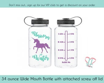Unicorn Water Tracker - Water bottle Tracker - 34 oz bottle - Unicorn