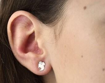 Sale White Ghost Halloween Sterling Silver Stud Earrings - Halloween Earrings - Sterling Silver Earrings - Ghost Earrings  [NJW-HW-004]