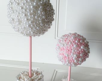 """Pearl Centerpiece 9.5"""" Tall White and Pink - All White - Cream Mix Topiary Baptism Birthday Christening Wedding Baby Shower Table Decoration"""