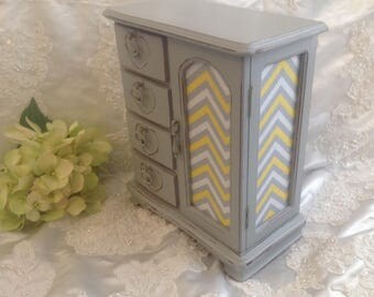 Jewelry Armoire Box  Hand Painted Pearl Gray Shabby Chic Distressed Large Vintage Wood Jewelry Armoire Box Chevron Fabric