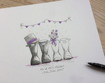 Personalised Wedding Wellies. Gorgeous hand drawn, painted & personalised Wedding Wellies. Perfect for Moving house gift or Wedding gift