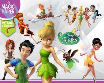 Disney Fairies Tinkerbell Clipart - Digital 300 DPI PNG Images, Photos, Scrapbook, Digital, Cliparts, Decoration - Instant Download