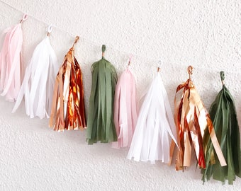 Tassel Garland | Rose Gold, olive Green, and Dusty Rose Tassel garland | Millenial Pink Party | Rose Gold Party | Neutral Tassel Garland |