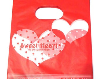 10 sachets plastic handle 20x15cm pattern red heart