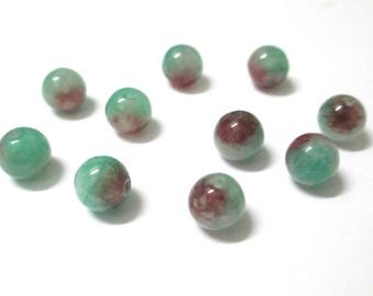 natural jade green and Red 8mm 10 beads