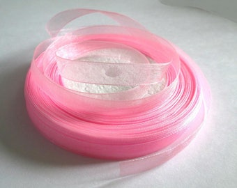 10 m 10mm pink organza Ribbon