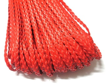 5 m of red faux leather braided 5x2mm