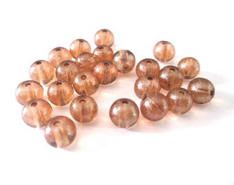 20 brilliant glass 6mm Brown beads