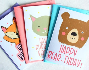 Birthday Card Multi-pack | Greeting Cards | Birthday and Celebration | Handmade Cards | Animal Card | Birthday Card