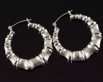 14k Hollow Bamboo Notched Hoop Earrings Gold