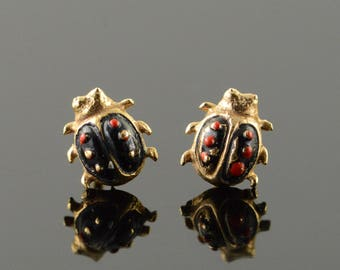 14k Enamel Ladybug Stud Earrings Gold