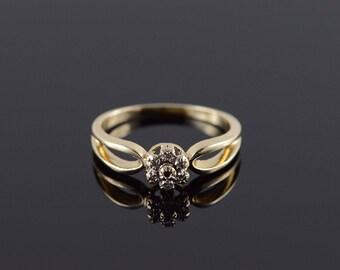 10k Genuine Diamond Cluster Halo Ring Gold