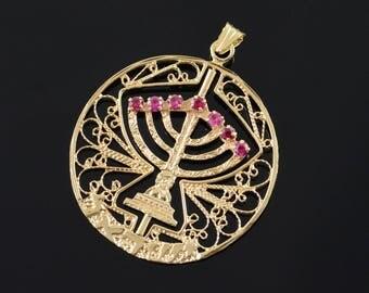 14k Vintage Ruby Turquoise Spinning Menorah Jewish Filigree Charm/Pendant Gold