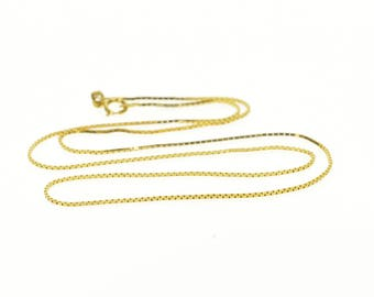 14k 0.6mm Box Link Chain Necklace Gold 15.9""