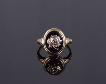 k Black Onyx Rose Overlay Oval Tiered Bezel Ring Gold