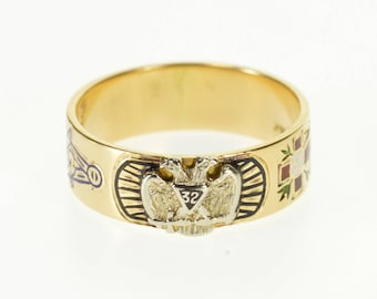 14k 32nd Degree Mason Double Headed Eagle Ornate Ring Gold