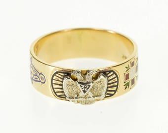 14k 32nd Degree Mason Double Headed Eagle Ornate Ring Gold