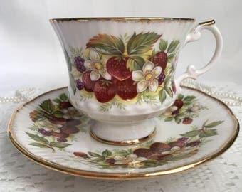 Elizabethan Fine Bone China Tea Cup and Saucer, Summer Berries, Gold Trim