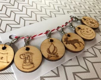 Set of 6 camping themed locking stitch markers
