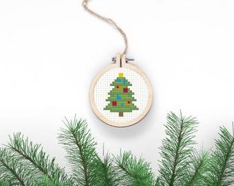 Christmas Tree Cross Stitch Pattern Xmas Digital Download Simple Needlepoint DIY Christmas Decor Holiday Crafts Decorated Fir Xmas Jewelry