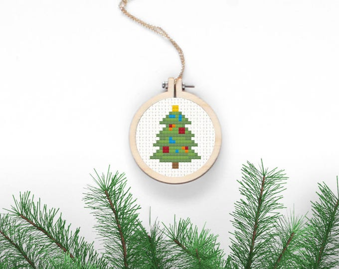 Featured listing image: Christmas Tree Cross Stitch Pattern Xmas Digital Download Simple Needlepoint DIY Christmas Decor Holiday Crafts Decorated Fir Xmas Jewelry