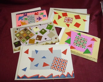 "5 Handmade Blank Inside Greeting Cards Deconstructed Quilt Theme Mixed Media 7.5"" x 5"" to 10.5"" x 6"""