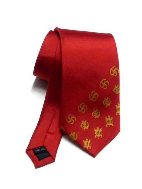 Red Silk African Adinkra Necktie