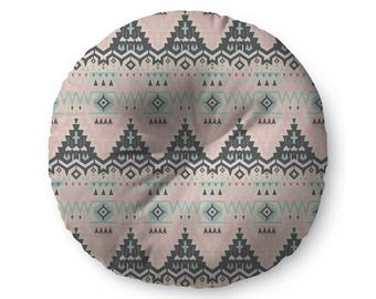 Pink and Mint Tribal Pattern - floor pillow
