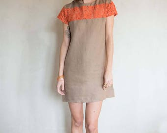 Brown linen and lace dress