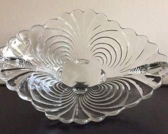 Vintage Cambridge Glass Caprice Oval Bowl 4 feet and closed handles
