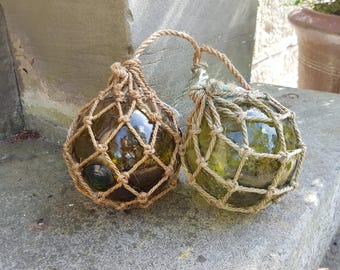 French Vintage Fishing Floats  / Green Glass Float / Glass Balls / Home Decor / Traditional French Glass / Fishing Float / Hessian Rope