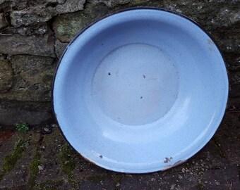 French Large Blue Enamel Bowl / French Enamel Bowl / Vintage Enamel / Blue Enamel / Large Enamel Bowl / Vintage Enamel Bowl / Retro Kitchen