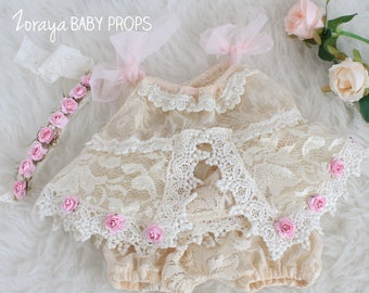 Lace Dress, Bloomers, Newborn Props, Vintage , Baby Girl Outfit, Neutral Props, Pastel, Special Occasion, Newborn Dress, Newborn Photography