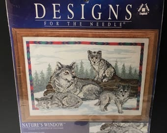 """Designs For the Needle  Counted Cross Stitch Kit 5404 Wolf Family Wolf And Pups Pack  Forest Tree Wilderness 12 x  14 """" Leisure Arts 305404"""