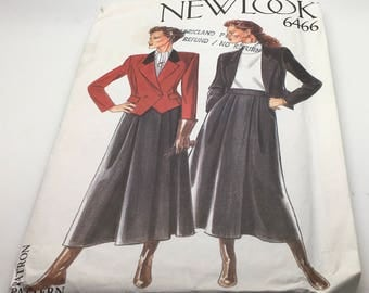 New Look Sewing Pattern 6466 Jacket Skirt Short Waist  Fitted Maxi Lenght Skirt Swing Flared  Equestrian Style Fashion Size 8 10 12 14 16 18