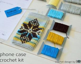 crochet phone case kit, pattern with cross stitch, leaf motif, easy, diy, colorful, cotton, yarn, handmade, blue, folk, boho
