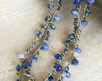 "Blue Lapis Gemstone Multi-Strand Necklace and Wrap Bracelet ""Cornflower"""