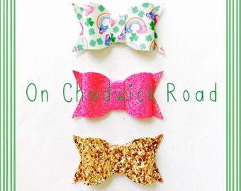 Lucky Charm St. Patrick's Day Chunky Hair Bow Set of Three