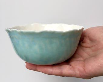 Ceramic bowl - Porcelain bowl - Pottery bowl - Serving bowl - Small bowl - Turquoise bowl