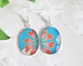 Earrings Japanese flowers on blue background