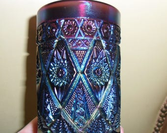 Antique Imperial Carnival Glass Electric Purple ''DIAMOND LACE'' Tumbler - Vintage Art Glass - Iridized Collectible Glass(707)