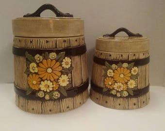 Ceramic Floral Barrel Canister Set